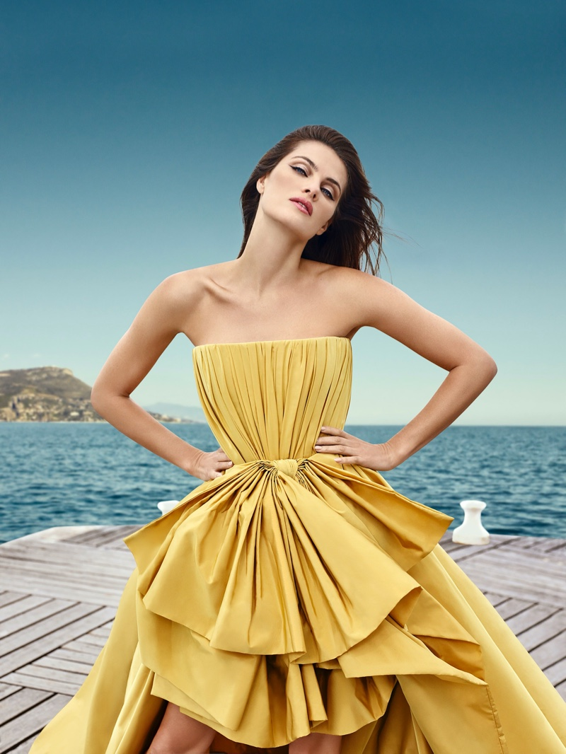 Shining in yellow, Isabeli Fontana fronts Ali Younes Couture campaign.