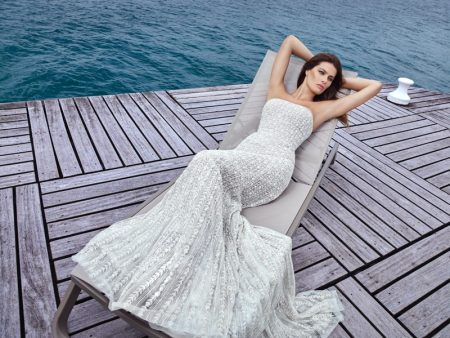 Shimmering in silver, Isabeli Fontana poses for Ali Younes Couture.