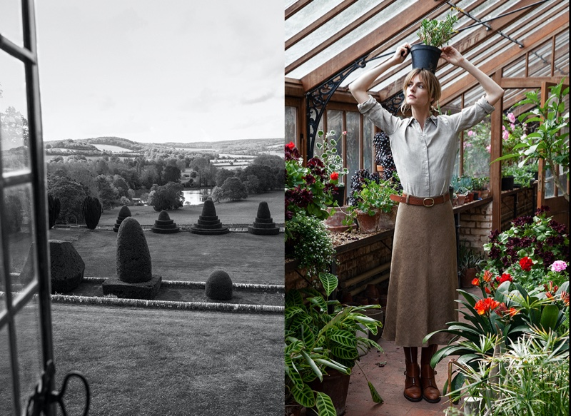 Posing in a greenhouse, Jacquetta Wheeler models for Massimo Dutti Paper.
