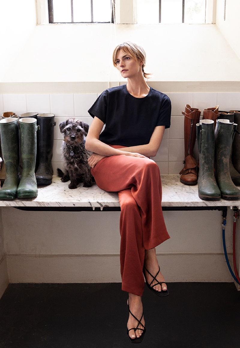 Jacquetta Wheeler wears Massimo Dutti plain cotton t-shirt and flowing trousers.