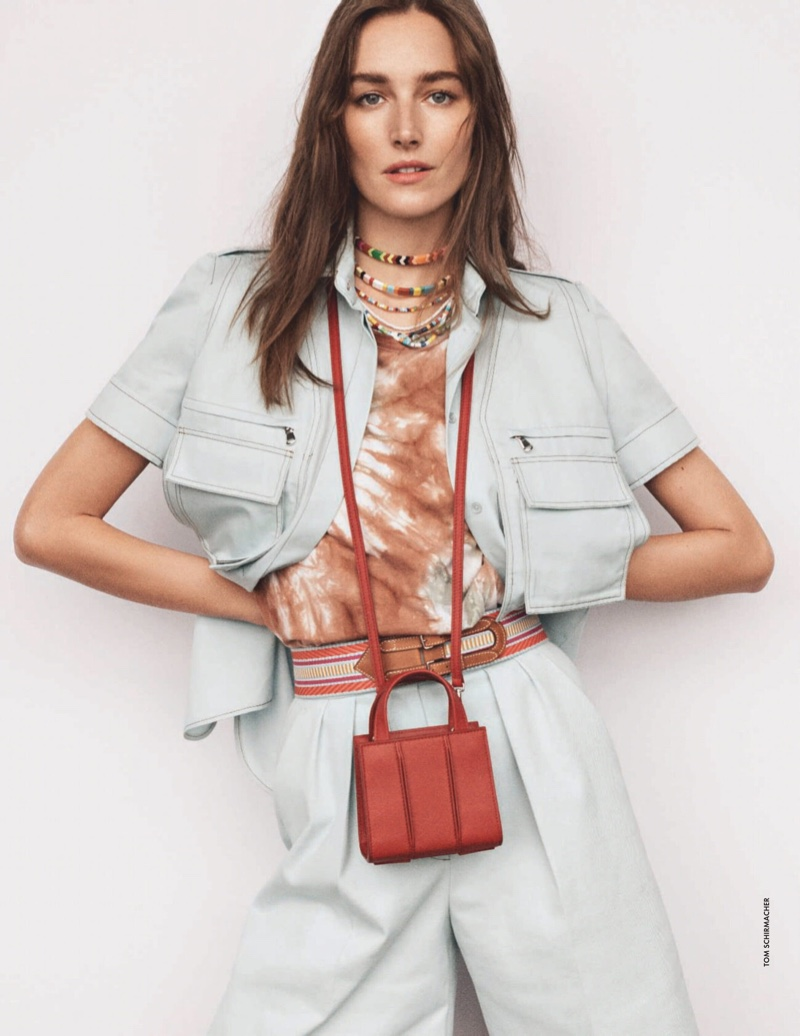 Josephine le Tutour Tries On Tie-Dye Prints for Elle Italy