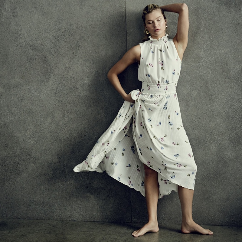 Wearing florals, Josie Canseco appears in Vince Camuto spring-summer 2020 campaign.