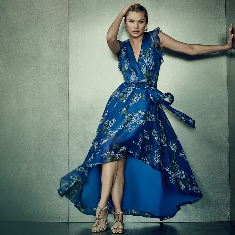 Dazzling in blue, Josie Canseco fronts Vince Camuto spring-summer 2020 campaign.