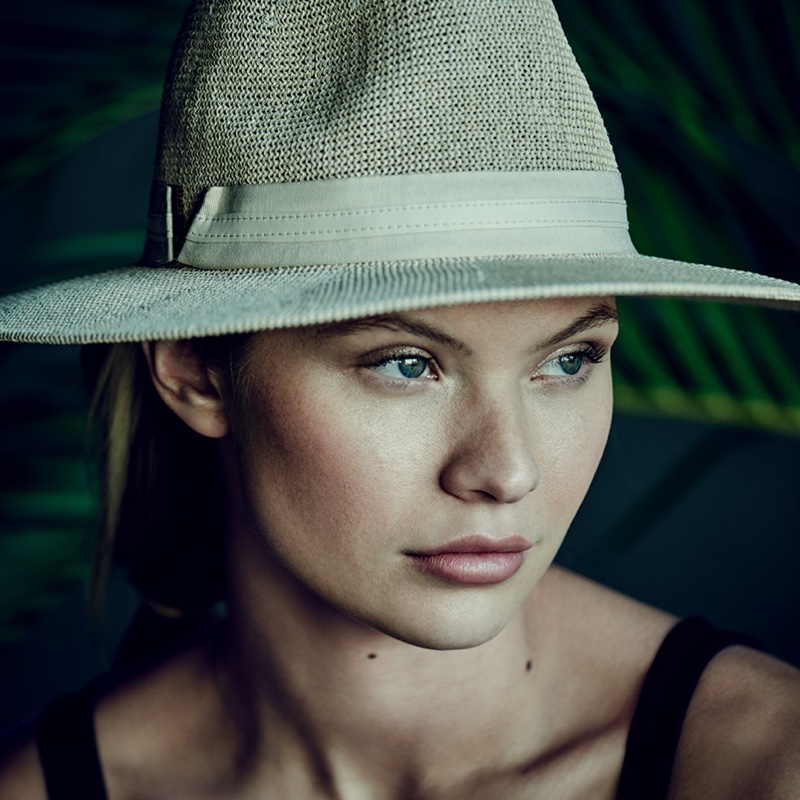 Wearing a hat, Josie Canseco fronts Vince Camuto spring-summer 2020 campaign.