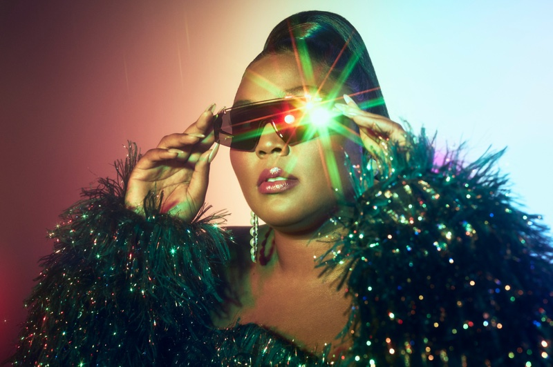 Lizzo poses in Quay Australia sunglasses collaboration campaign.