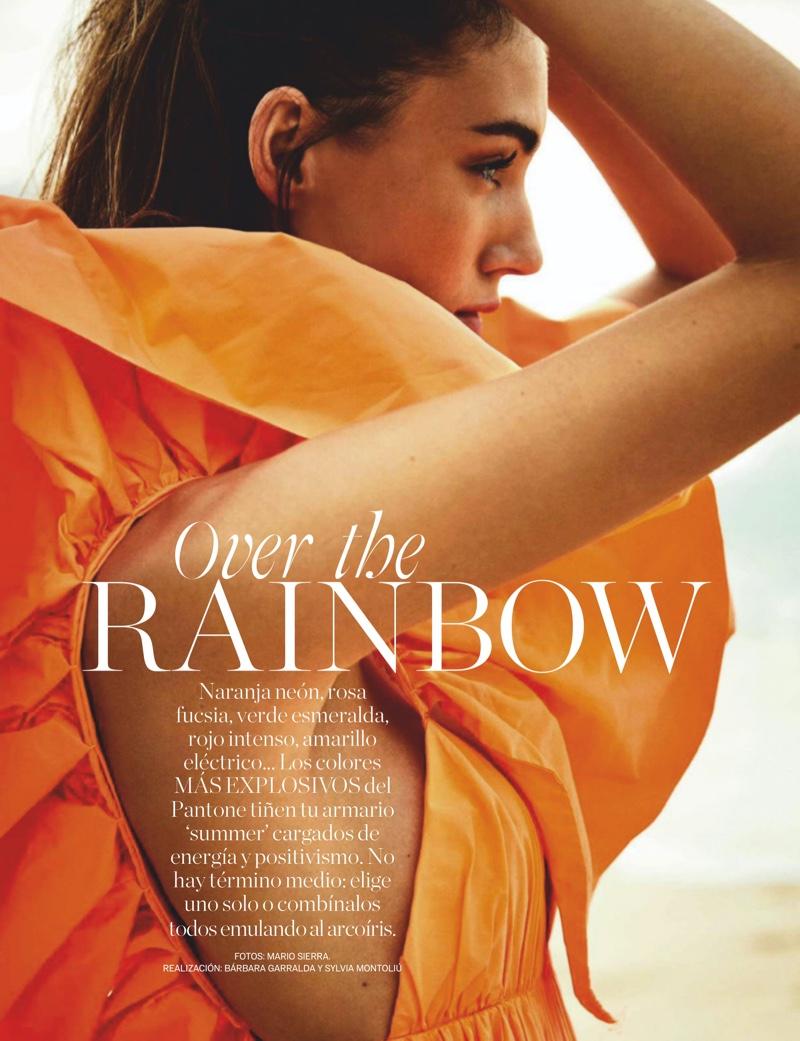 Lorena Rae Models Vibrant Beach Fashions for ELLE Spain
