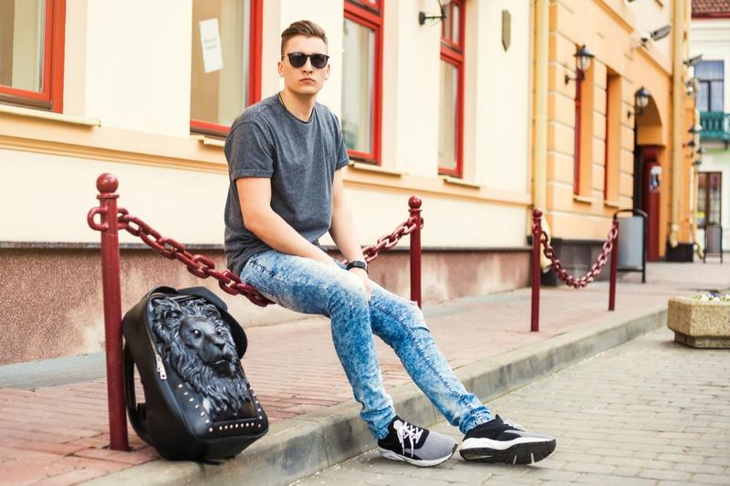 Man Casual Street Style Tee Jeans Backpack Sneakers