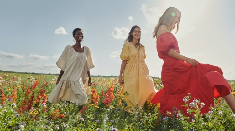 Oumie Jammeh, Kaya Wilkins and Andreea Diaconu star in Mango Life in Bloom summer 2020 campaign.