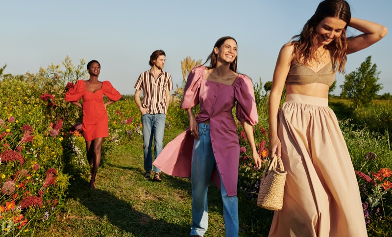 Outdoor styles are featured in Mango Life in Bloom summer 2020 campaign.