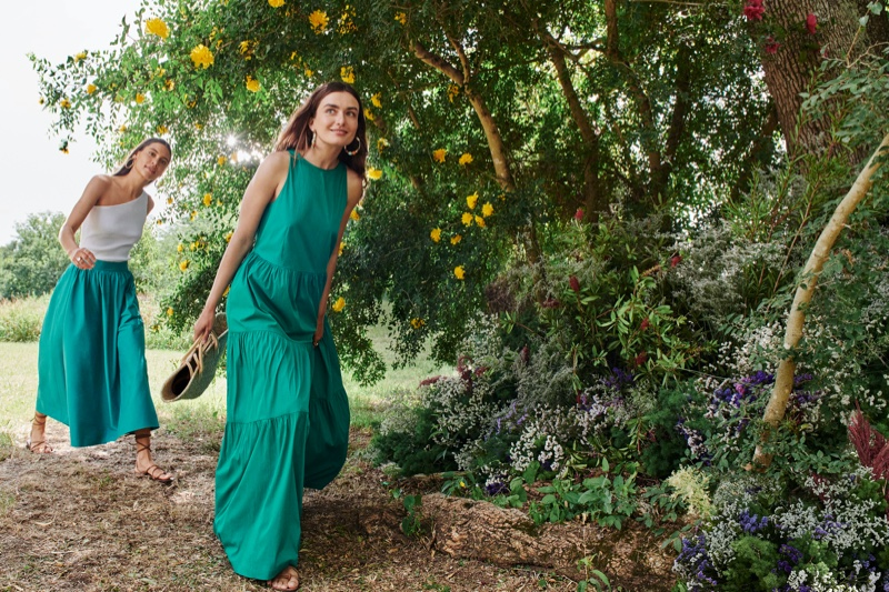 Kayla Wilkins and Andreea Diaconu appear in Mango Life in Bloom summer 2020 campaign.