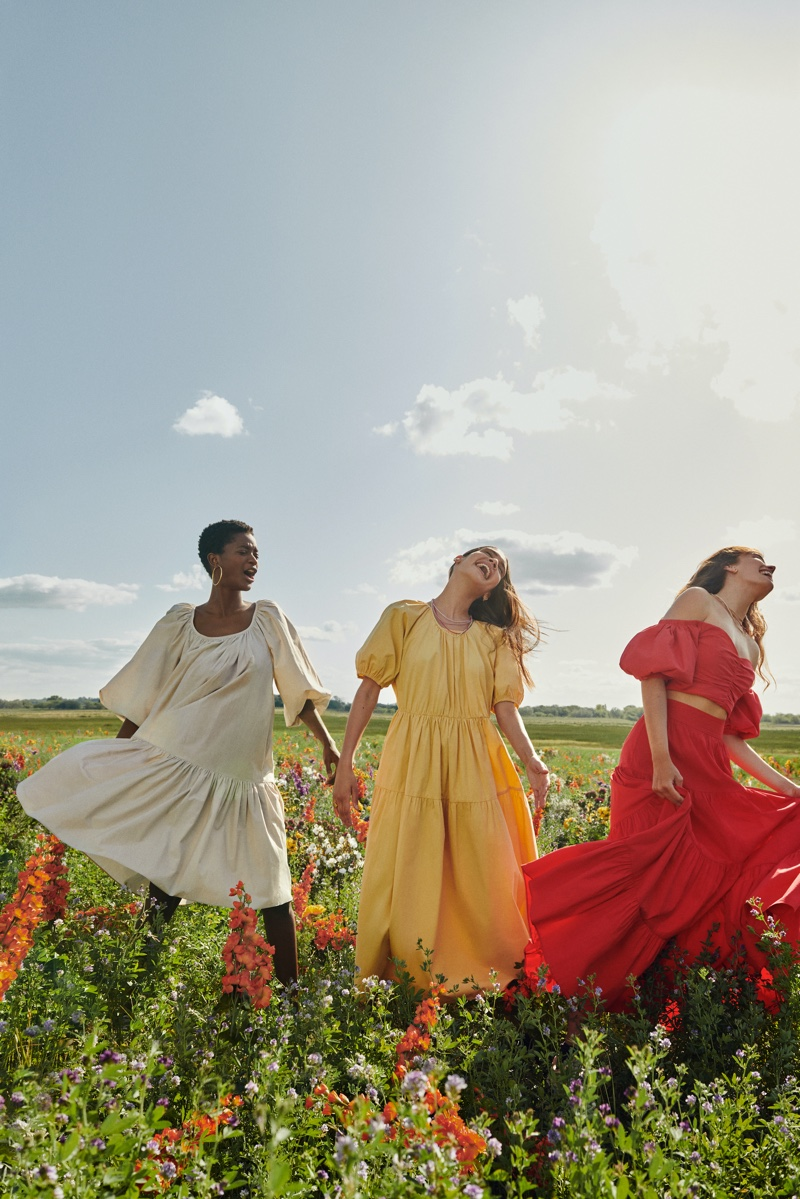 Colorful dresses stand out in Mango Life in Bloom summer 2020 campaign.