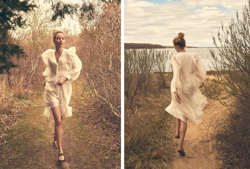 Heloise Guerin wears romantic styles in Massimo Dutti A New Lightness editorial.