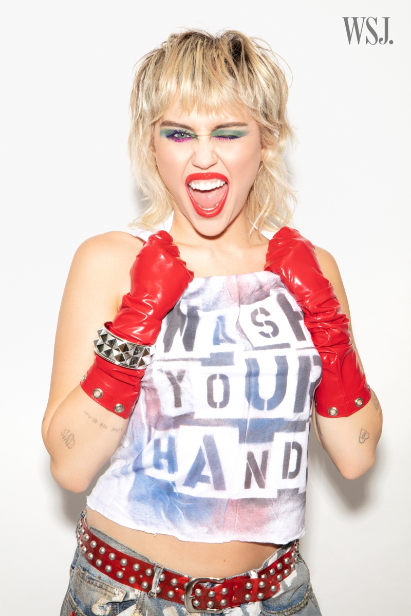 Singer Miley Cyrus takes self-portraits in quarantine for the shoot.