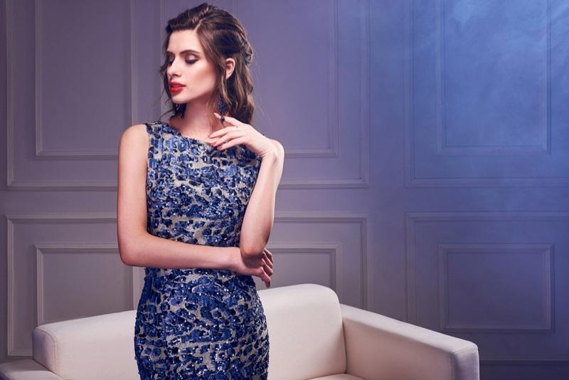 Model Blue Cocktail Dress Elegant