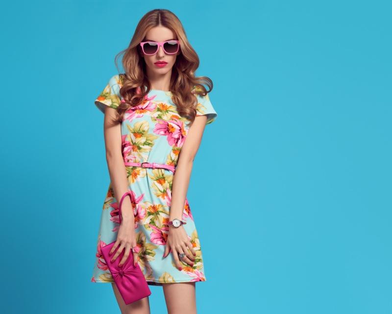 Model Floral Print Mini Dress Sunglasses Bag