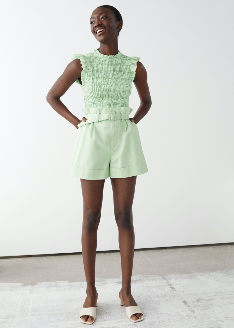 & Other Stories Belted Paperbag Waist Shorts $55