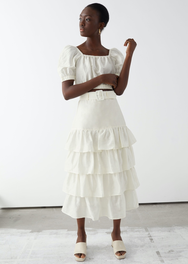 & Other Stories Puff Sleeve Crop Top $59 & Belted Ruffle Midi Skirt $99