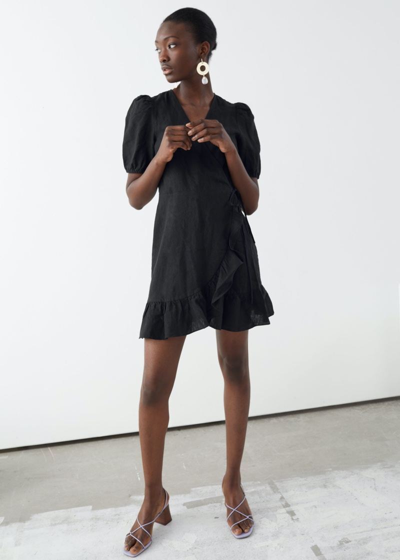 & Other Stories Puff Sleeve Linen Wrap Mini Dress in Black $83