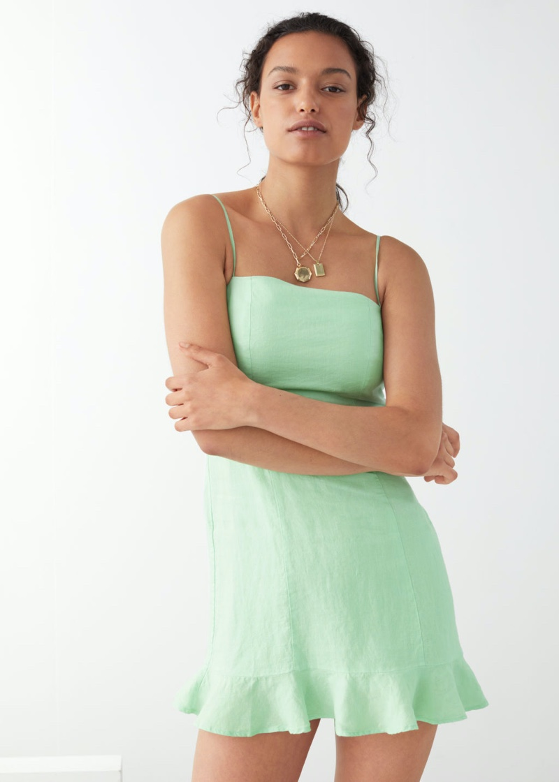 & Other Stories Spaghetti Strap Linen Mini Dress in Green $89