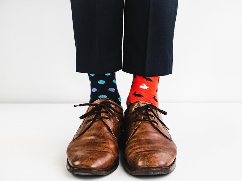 Patterned Socks Dress Shoes Man