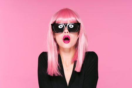 Pink Hair Bangs Wig Model Sunglasses