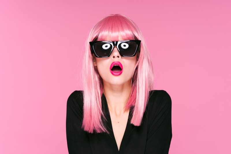 Pink Hair Bangs Wig Model Sunglasses