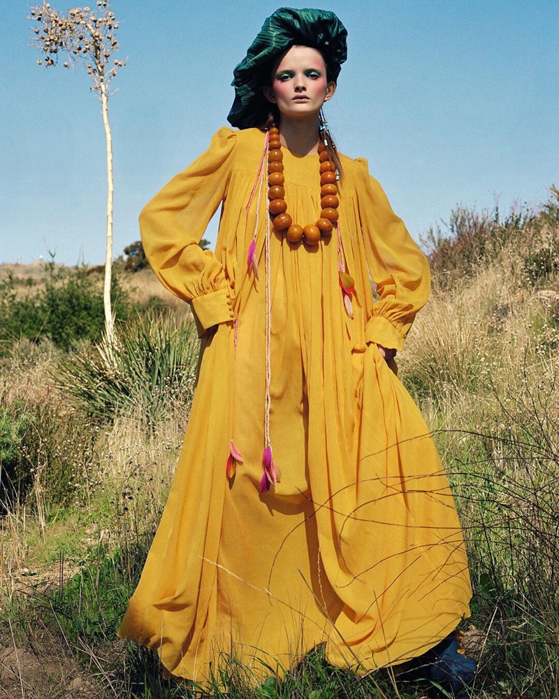 Primrose Archer Wears Eclectic Looks for Vogue China