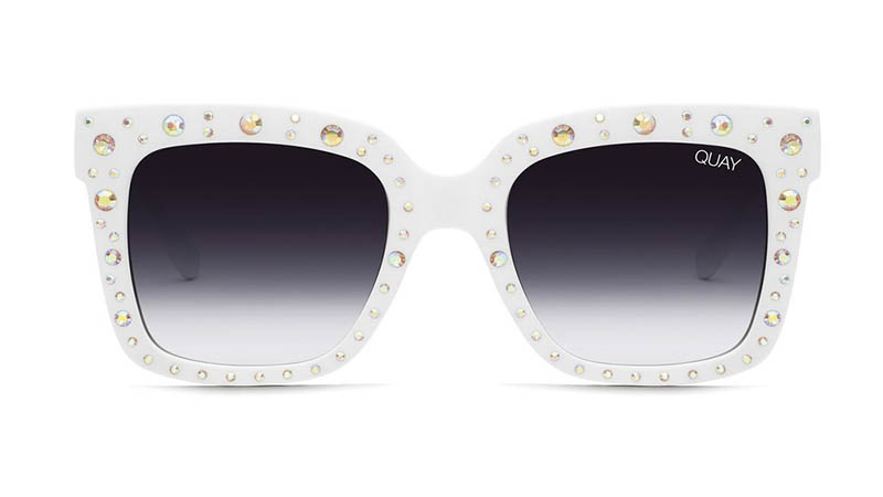 Quay x Lizzo Icy Embellished Sunglasses in WHTRNBW/FADE $65