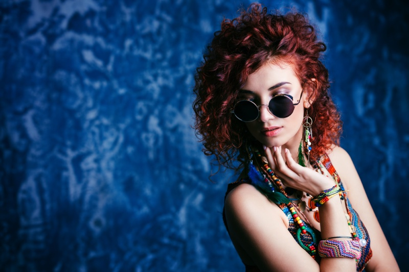 Redhead Curly Hair Model Worldly Prints Jewelry Sunglasses