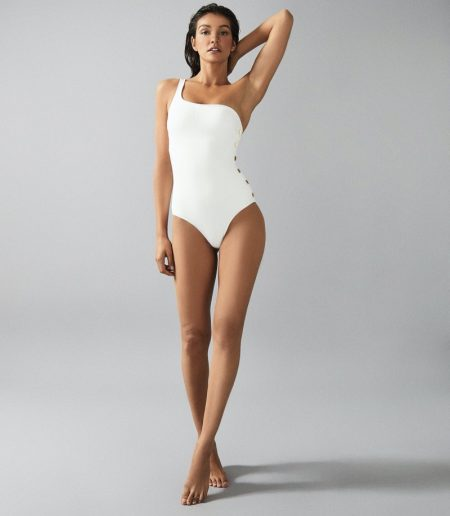 Reiss Bethany Asymmetric Swimsuit with Button Detail $170