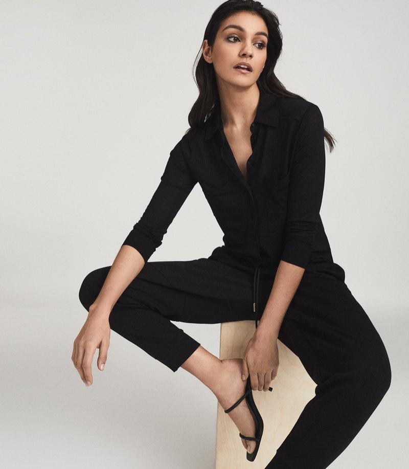 Reiss Nancy Twin Pocket Jersey Shirt in Black $180