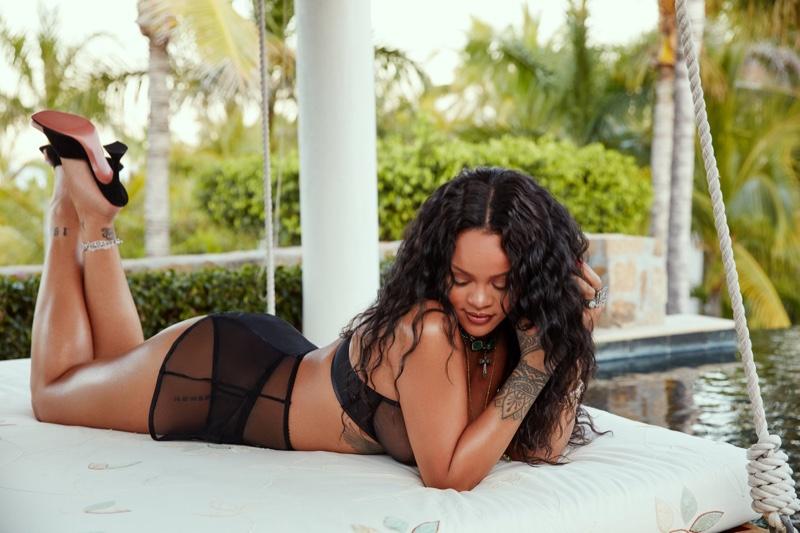 Lingerie designer Rihanna appears in Savage x Adam Selman Neon Nights campaign.