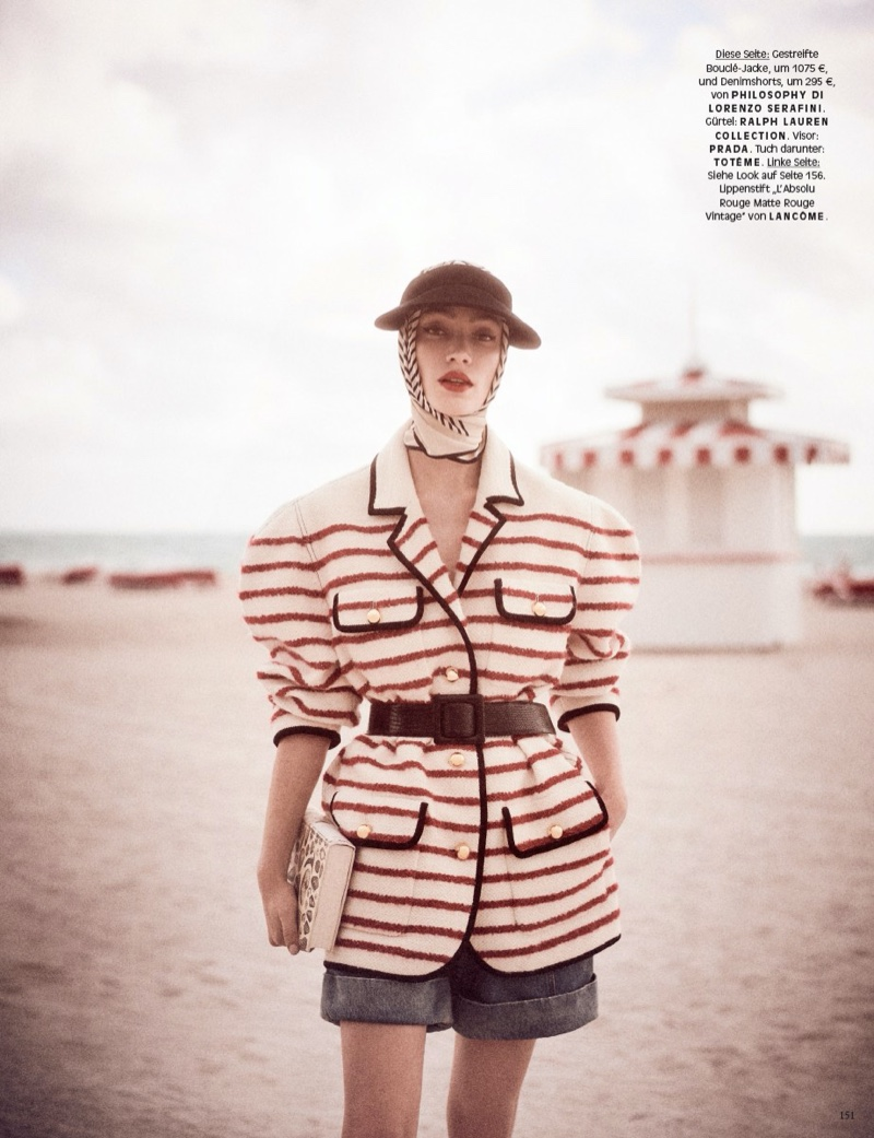 Sophie Koella Poses in Retro Beach Styles for Vogue Germany