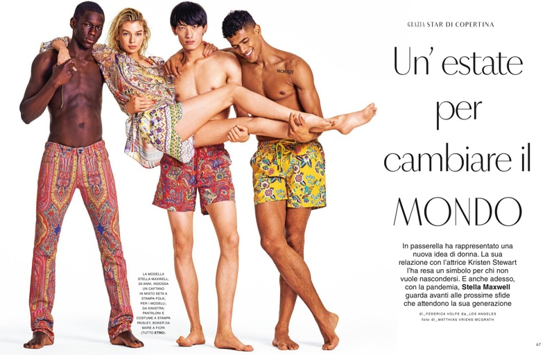 Stella Maxwell Stands Out in Etro Prints for Grazia Italy