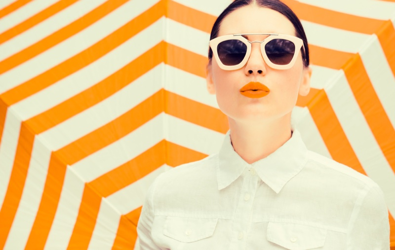 Summer Makeup Orange Lipstick Sunglasses