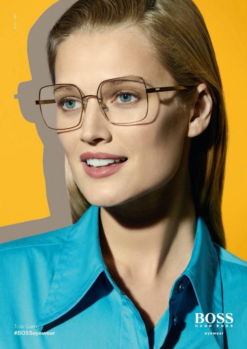 Model Toni Garrn flashes a smile in BOSS Eyewear spring-summer 2020 campaign.