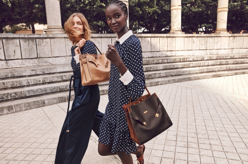 Polka dot prints stand out in Tory Burch spring-summer 2020 campaign.