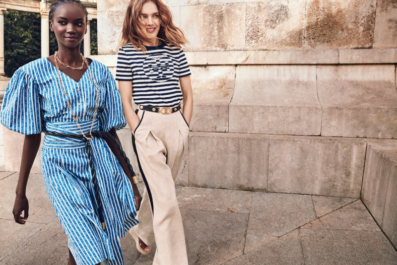 Models Anok Yai and Natalia Vodianova fronts Tory Burch spring-summer 2020 campaign.