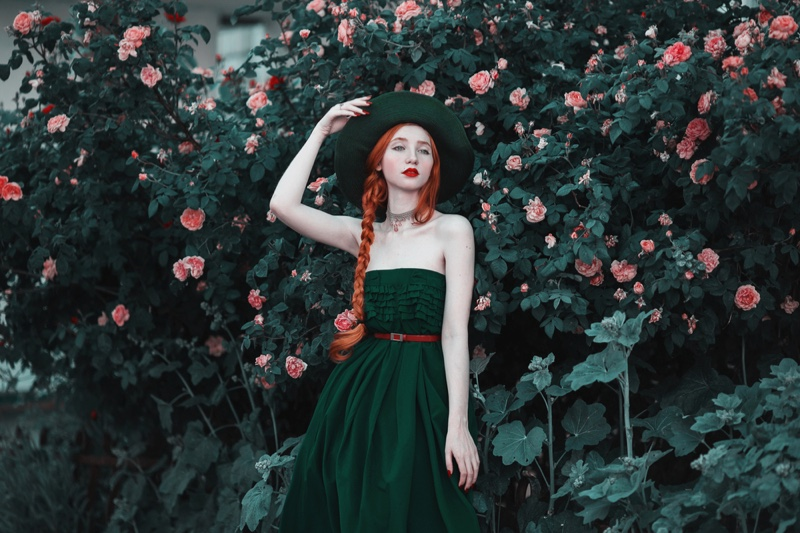 Vintage Style Green Dress Hat Outdoors Flowers Redhead Model