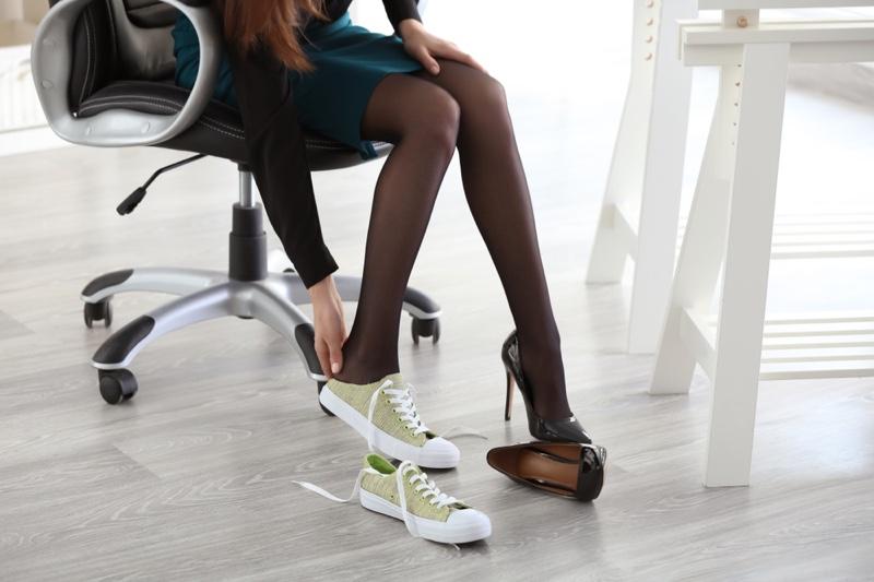 Woman Changing Shoes Heels Sneakers Legs