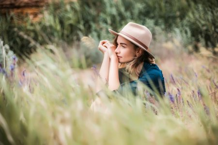 Woman Outdoors Field Hat Nature