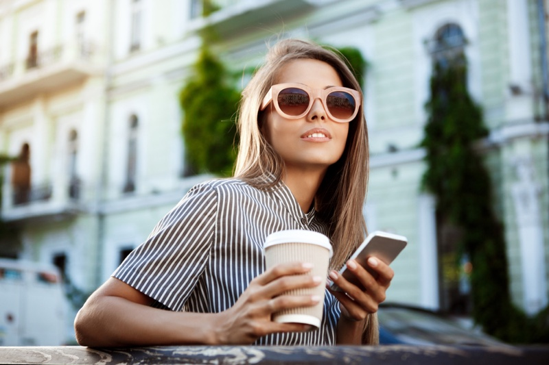 Woman Phone Sunglasses Coffee Outdoors