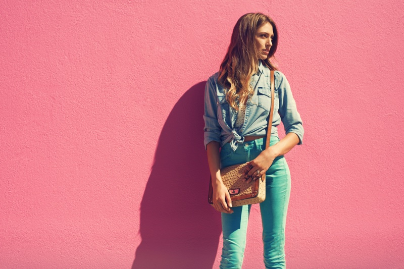 Young Woman Denim Shirt Jeans Straw Bag Outfit