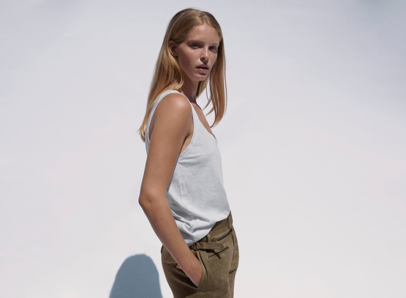 Abby Champion embraces a casual look from Zara's summer collection.