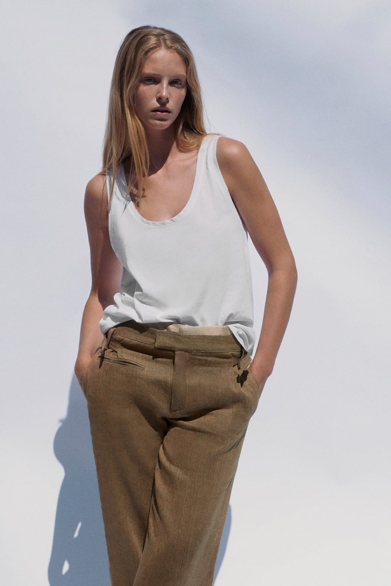 Zara Tank Top and Limited Edition Contrasting Pants.