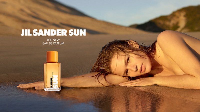 Model Anna Ewers fronts Jil Sander Sun fragrance campaign.