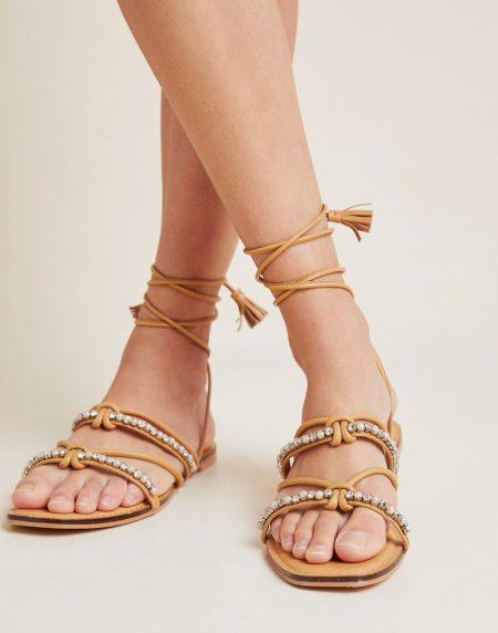 Anthropologie Puka Ankle-Tie Sandals in Honey $110