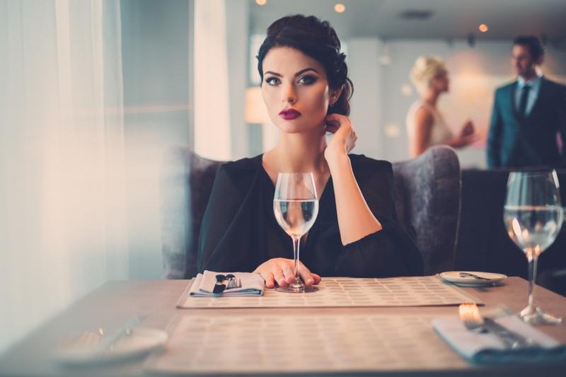 Attractive Model Black Dress Wine Glass Restaurant