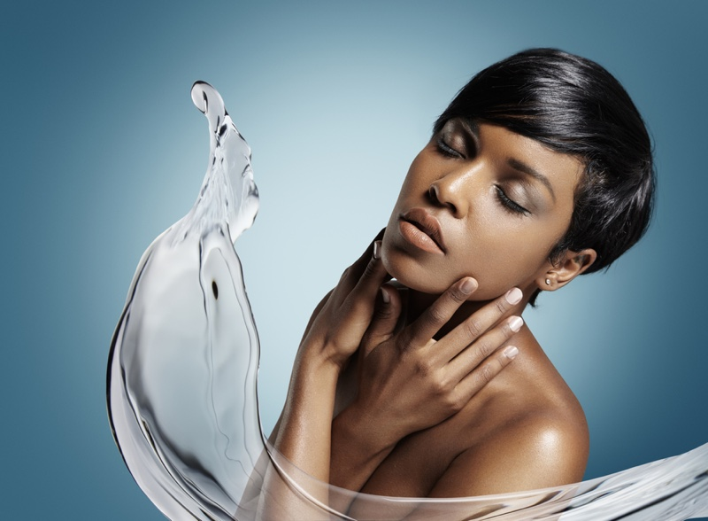 Black Woman Beauty Short Hair Water