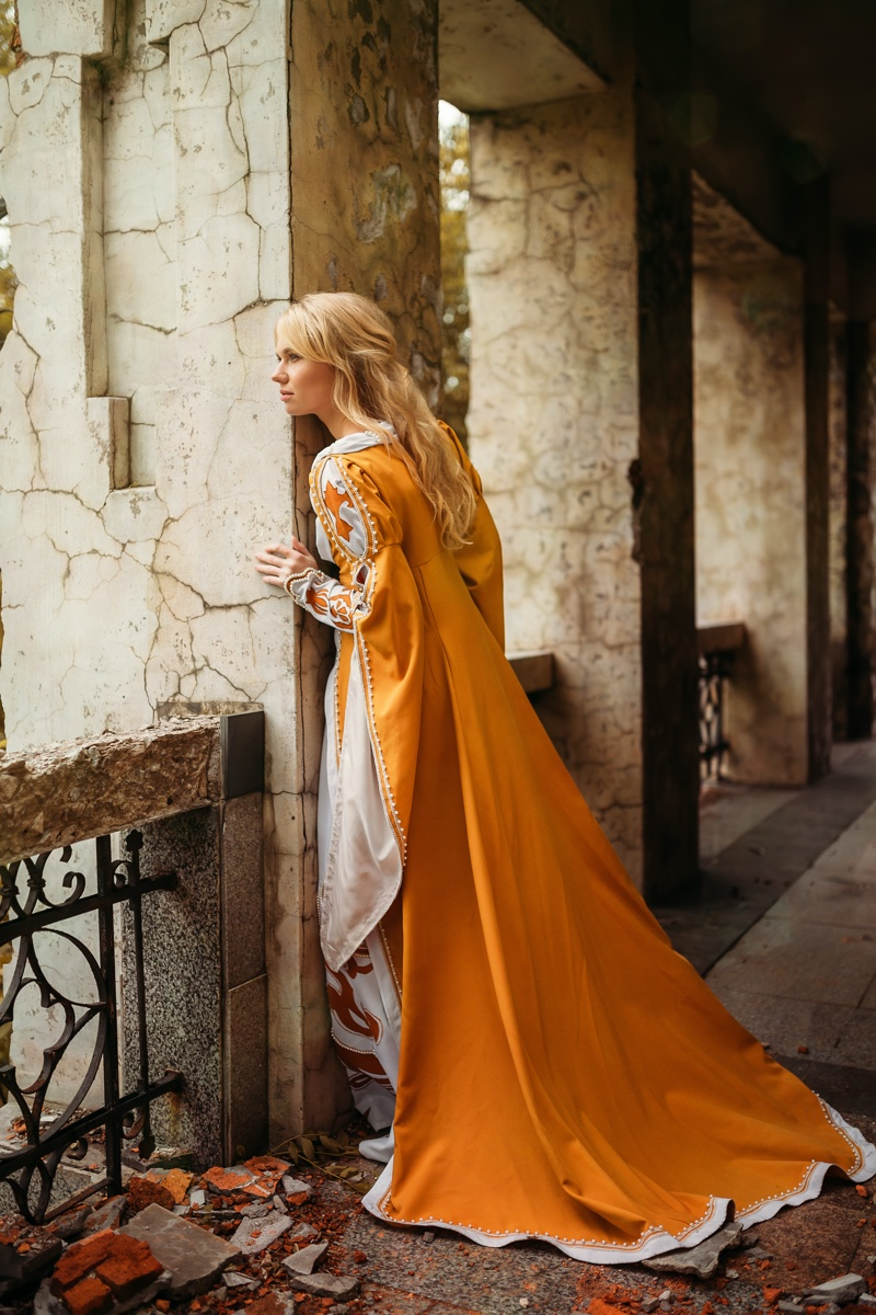 Blonde Model Orange Renaissance Medieval Dress